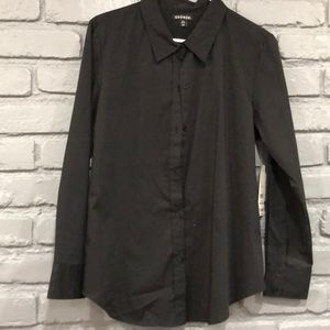 GEORGE LADIES SOLID BLACK button down top